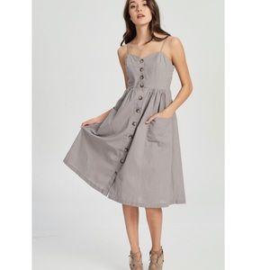 Dresses & Skirts - 🆕Demi Taupe Button Front Linen Midi Dress